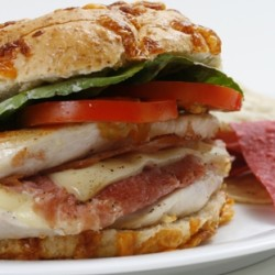 Ham and Swiss Stuffed Chicken Burgers