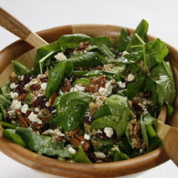 Warm Spinach Cranberry Mint Salad