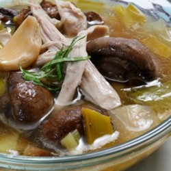 Roasted Mushroom Leek and Chicken Soup