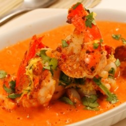 Watermelon Soup with Garlic Prawns