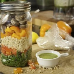 Mason Jar Salad with Lemon Chia Dressing