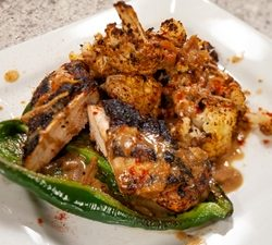 Coffee Chili Rubbed Chicken with Epsresso Mango Sauce