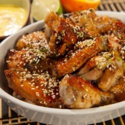Honey Garlic Chicken Wings with Vanilla Orange Aoili