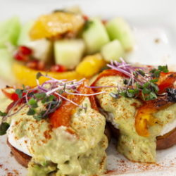 Egg & Yam Benny with Fruit Salad