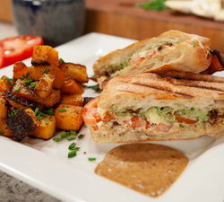 Panini with Bacon Aoili and Squash Browns