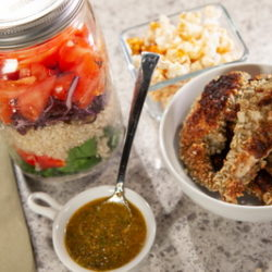 Pumpkin Crusted Chicken with Lemon Chia Dressed Salad